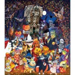 Puzzle   XXL Teile - Cats and Dogs on Halloween