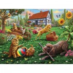 Puzzle   XXL Teile - Dogs and Cats at Play