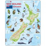 Larsen-A4-GB Rahmenpuzzle - New-Zealand Physical With Animals (Text in englischer Sprache)