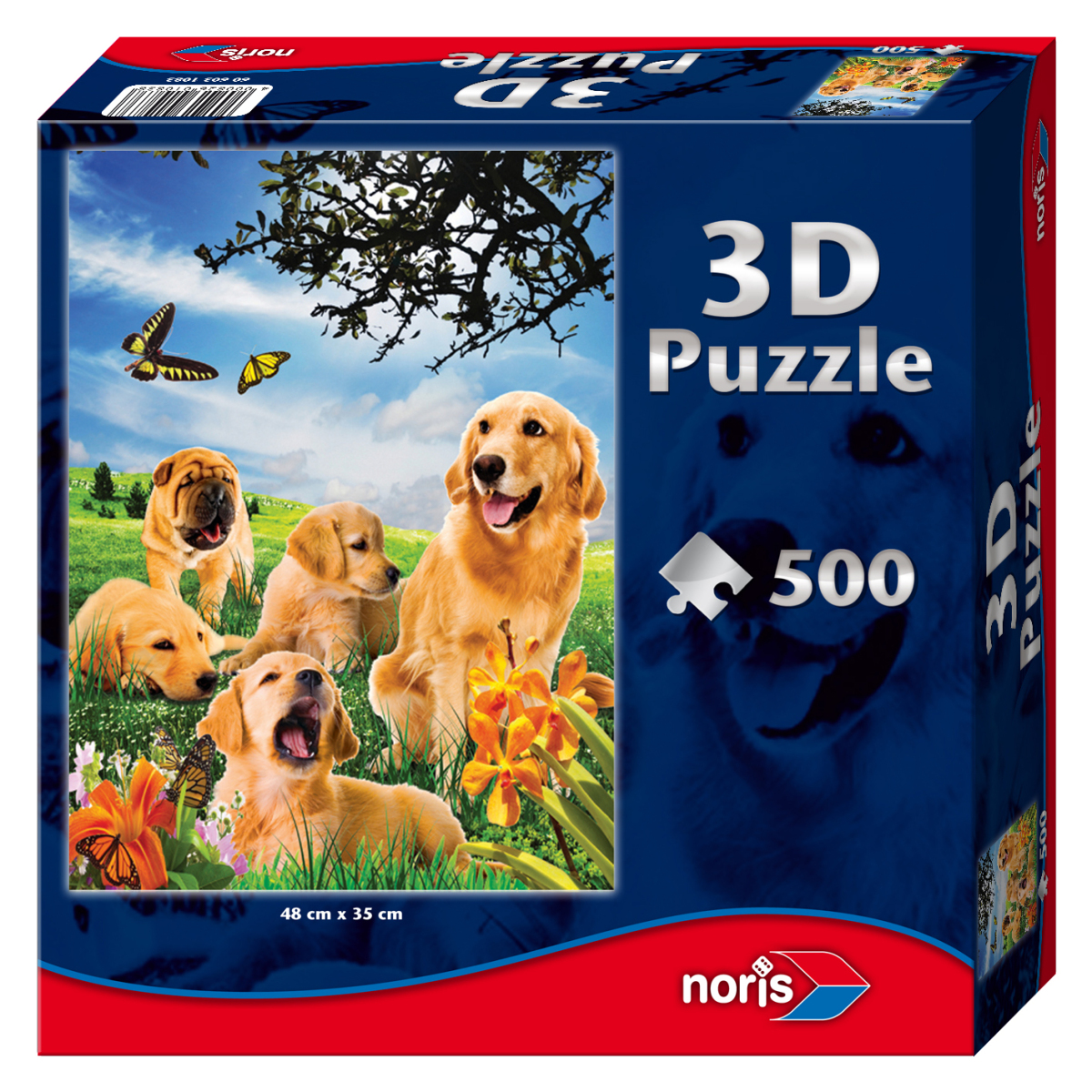 3d effekt hunde 500 teile noris puzzle online kaufen. Black Bedroom Furniture Sets. Home Design Ideas