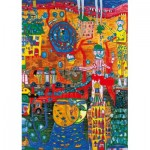 Puzzle  Art-by-Bluebird-Puzzle-60064 Hundertwasser - The 30 Days Fax Painting, 1996