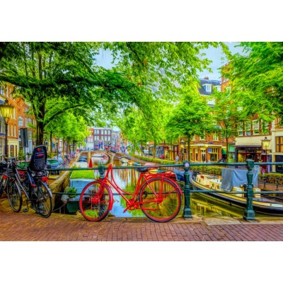 Puzzle Bluebird-Puzzle-70211 The Red Bike in Amsterdam