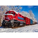 Puzzle  Bluebird-Puzzle-70282 Red Train In The Snow