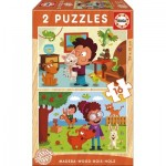 2 Holzpuzzles - Haustiere