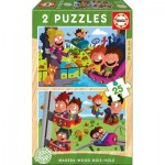 2 Holzpuzzles - Kirmes