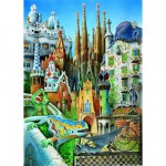 Educa-11874 Puzzle 1000 Teile Mini - Gaudi: Collage