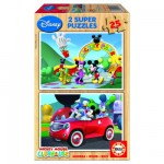 Educa-13470 Puzzle 2 x 25 Holzteile - Micky Maus Club