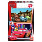 Educa-14939 Puzzle 2 x 48 Teile aus Holz - Cars 2: Piston Cup und Radiator Springs