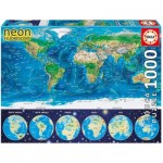 Educa-16760 Neon Puzzle - World Map