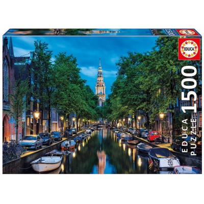 Puzzle Educa-16767 Amsterdam Canal at Dusk, The Netherlands