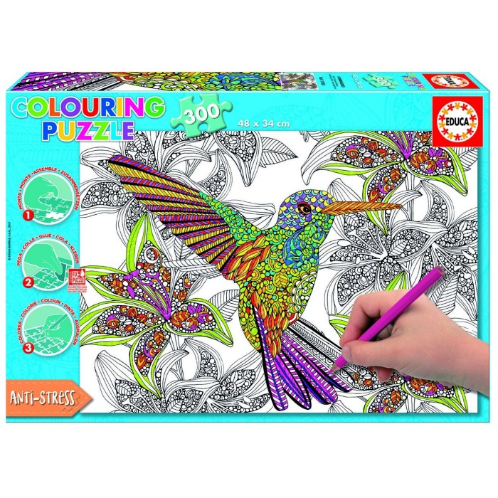 Colouring Puzzle - Hummingbird