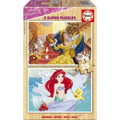 Educa-17164 2 Holzpuzzles - Disney Princess