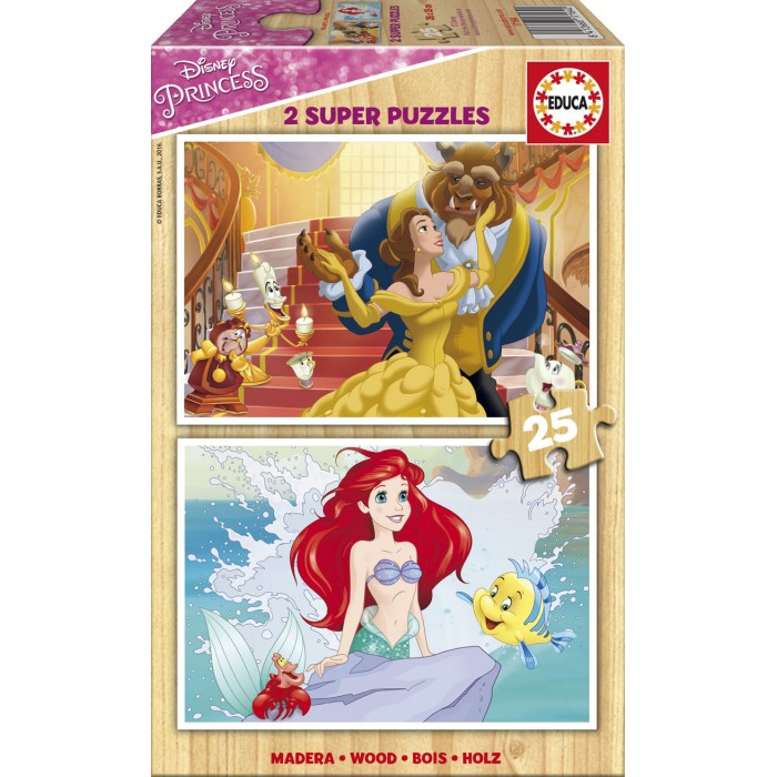 2 Holzpuzzles - Disney Princess