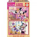 Educa-17625 2 Holzpuzzles - Minnie