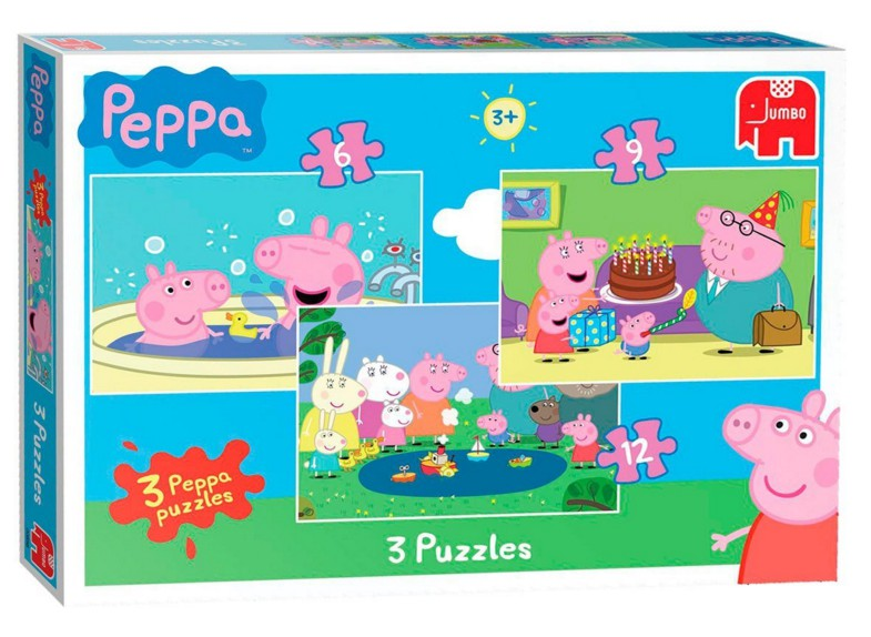 3 puzzles peppa pig puzzle online kaufen. Black Bedroom Furniture Sets. Home Design Ideas