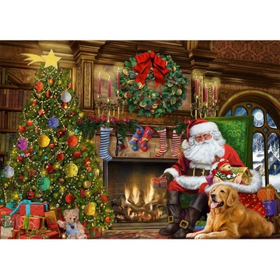 Puzzle Jumbo-11311 Santa by the Fireplace