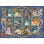 Puzzle  Jumbo-18853 Francien - Cat Horoscope