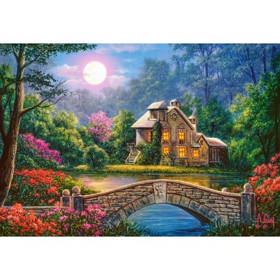 Puzzle Castorland-104208 Cottage in The Moon Garden