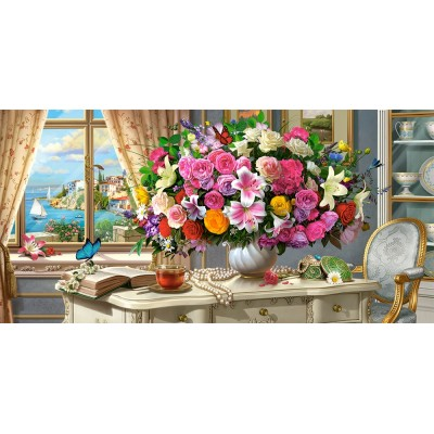 Puzzle Castorland-400263 Summer Flowers and Cup of Tea