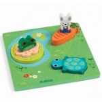 Djeco-01047 Holzpuzzle - 1,2,3 Froggy