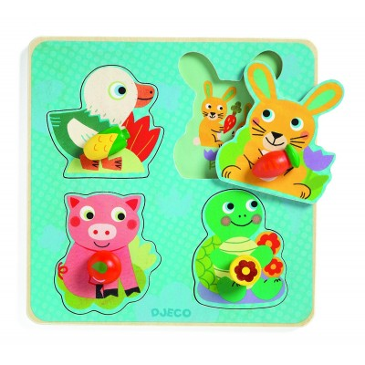 Djeco-01048 Holzpuzzle - Croc-carrot