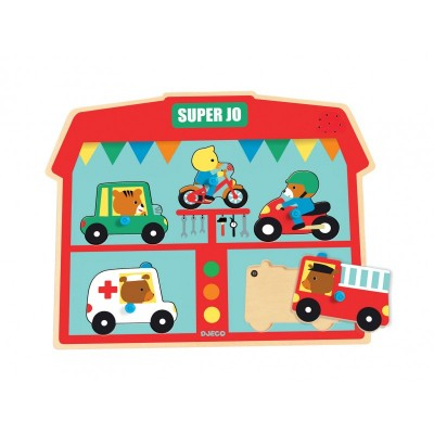 Djeco-01709 Holz-und Musical Puzzle - Super Jo