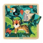 Djeco-01810 Holzpuzzle - Jungle