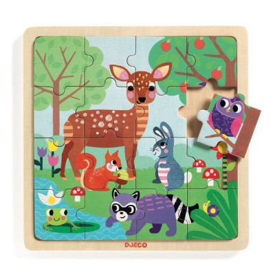 Djeco-01812 Holzpuzzle - Forest