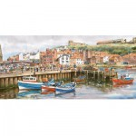 Gibsons-G374 Puzzle 636 Teile Panorama - Whitby Harbour