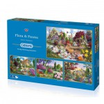 Gibsons-G5025 4 Puzzles - John Francis: Flora und Fauna
