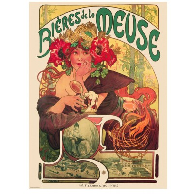 Puzzle Eurographics-6000-3455 Alphonse Mucha: Bieres der Meuse