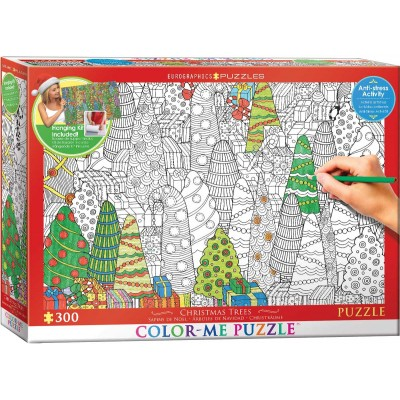 Puzzle Eurographics-6033-0886 XXL Color Me - Christmas Trees