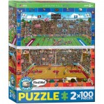 Eurographics-8902-0621 2 Puzzles - Find Me - Basketball & Amerikanischer Football