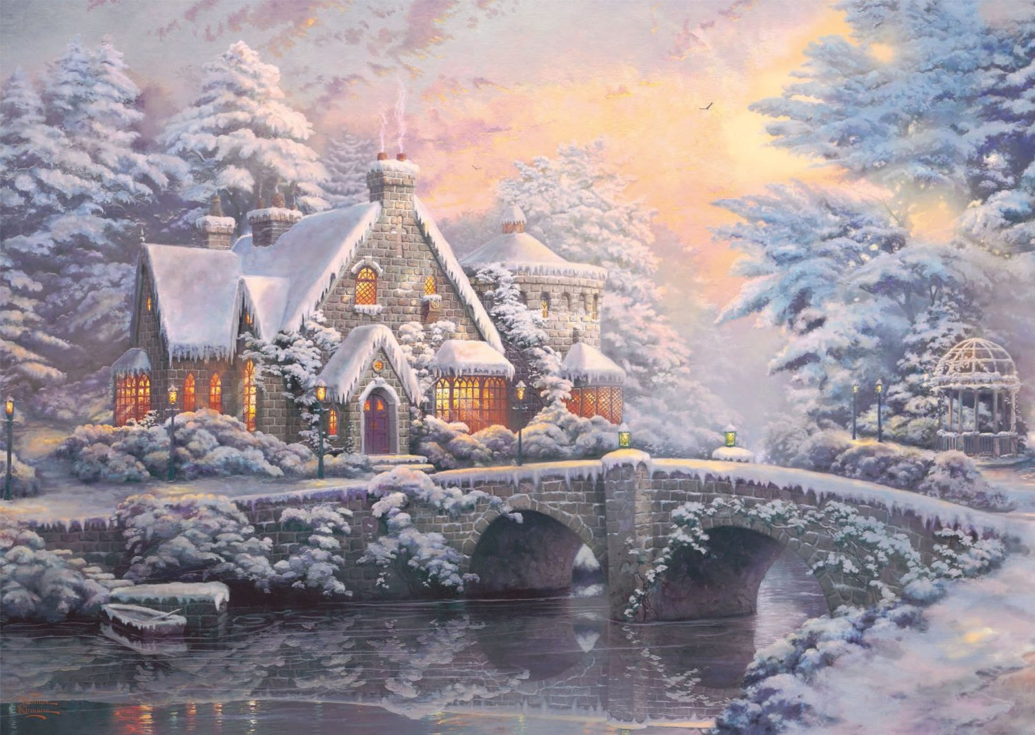 2 puzzles thomas kinkade winter in lamplight manour. Black Bedroom Furniture Sets. Home Design Ideas