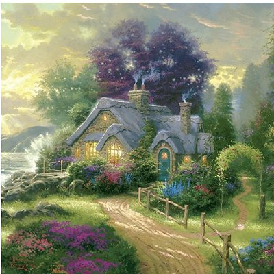 Schmidt-Spiele-59999-05 121 Teile Puzzle in Blechdose - Thomas Kinkade: Cottage