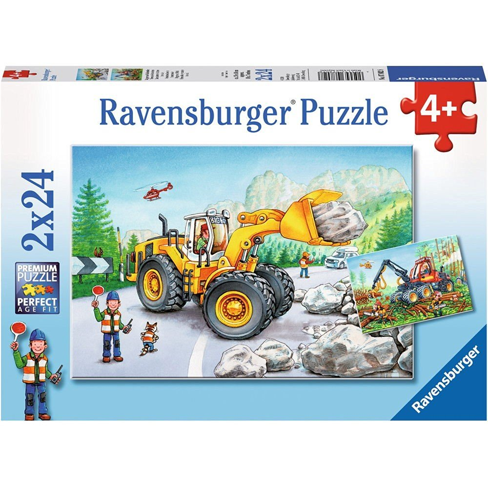 2 puzzles bagger und waldtraktor 24 teile ravensburger puzzle online kaufen. Black Bedroom Furniture Sets. Home Design Ideas
