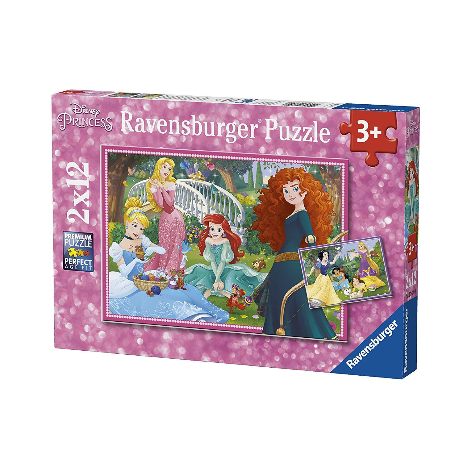 2 puzzles disney princess 12 teile ravensburger. Black Bedroom Furniture Sets. Home Design Ideas
