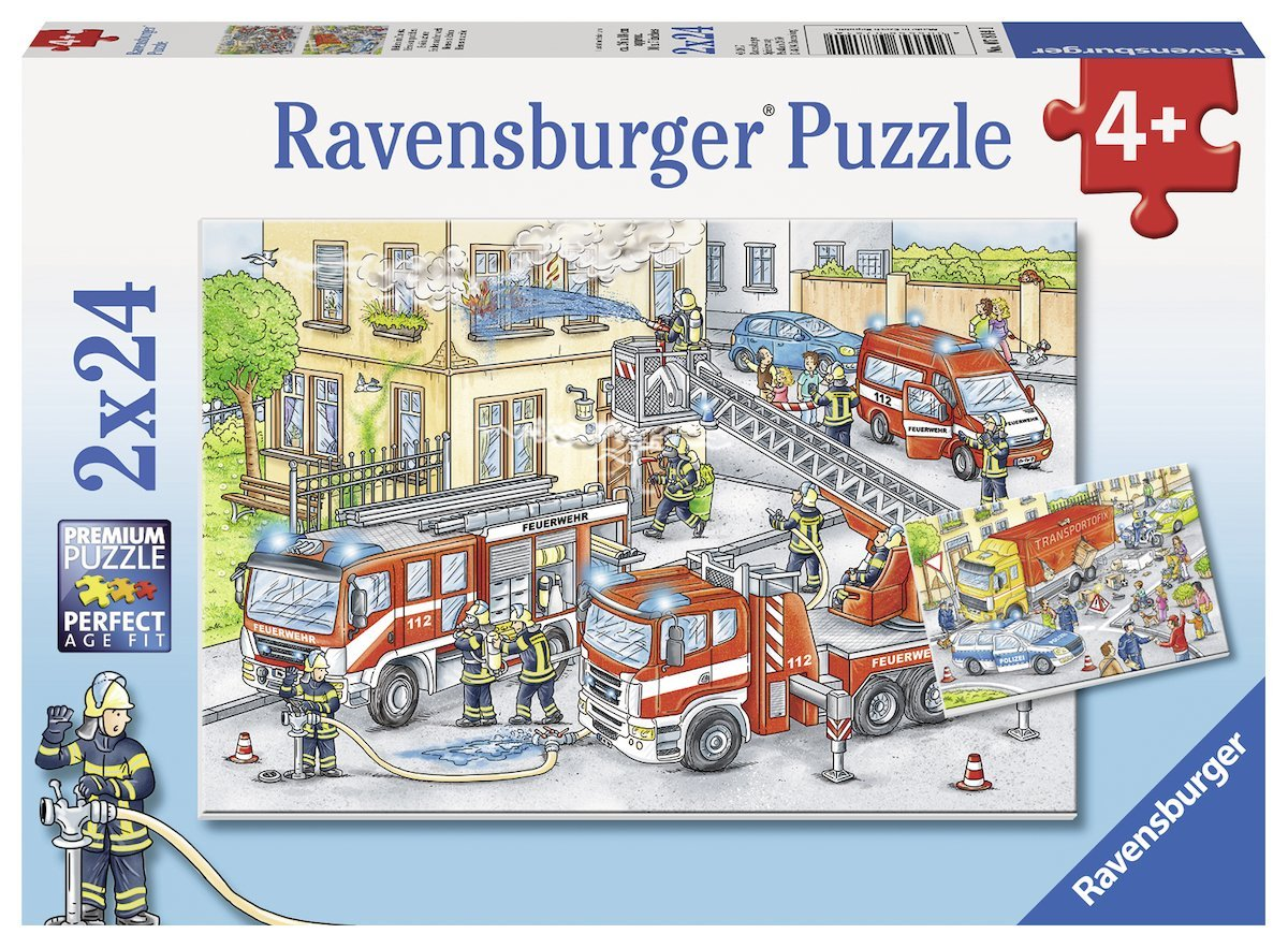2 puzzles helden im einsatz 24 teile ravensburger puzzle online kaufen. Black Bedroom Furniture Sets. Home Design Ideas