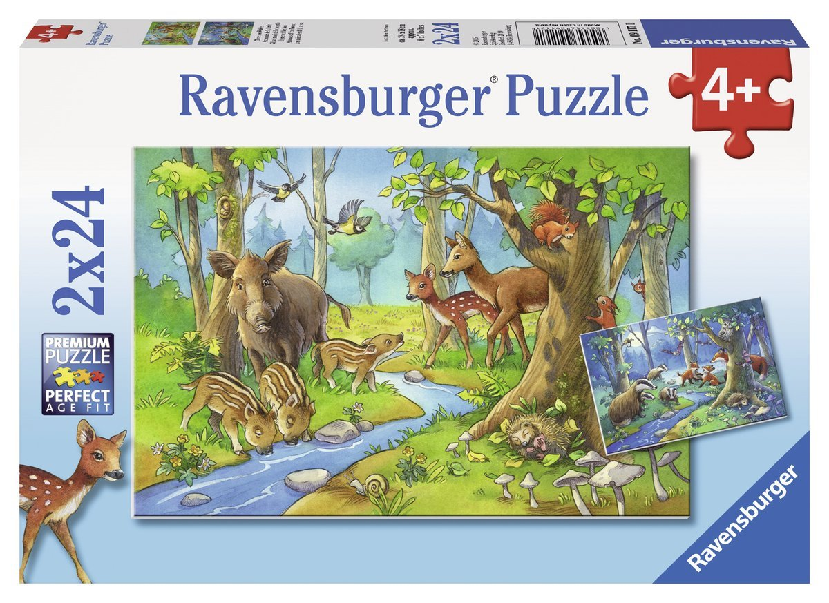 2 puzzles tiere des waldes 24 teile ravensburger. Black Bedroom Furniture Sets. Home Design Ideas
