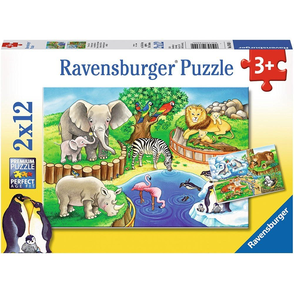 2 puzzles tiere im zoo 12 teile ravensburger puzzle online kaufen. Black Bedroom Furniture Sets. Home Design Ideas