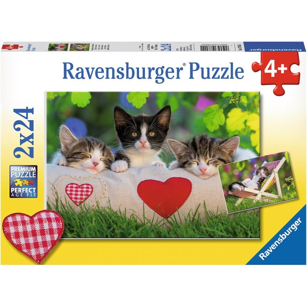 2 puzzles verschlafene k tzchen 24 teile ravensburger puzzle online kaufen. Black Bedroom Furniture Sets. Home Design Ideas