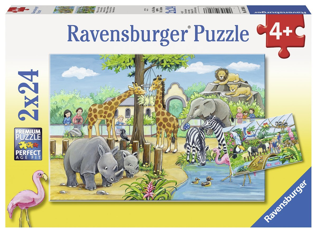 2 puzzles willkommen im zoo 24 teile ravensburger. Black Bedroom Furniture Sets. Home Design Ideas