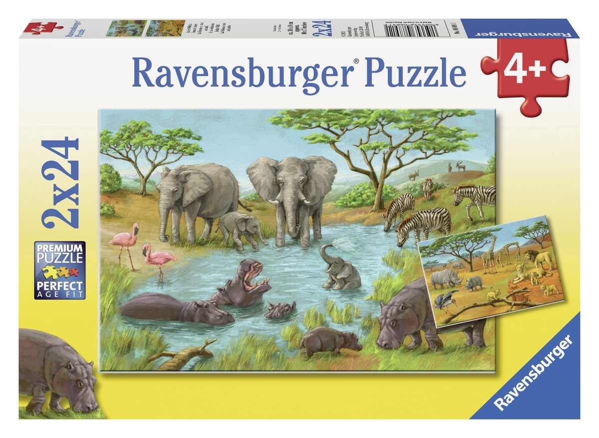 in der wildnis 2x24 teile puzzle set ravensburger. Black Bedroom Furniture Sets. Home Design Ideas