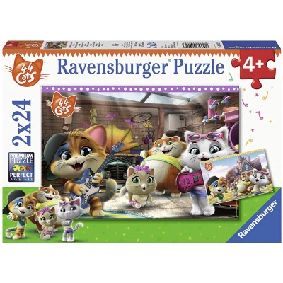 Ravensburger-05012 2 Puzzles - 44 Cats