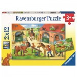 Ravensburger-05178 2 Puzzles - At the Stables