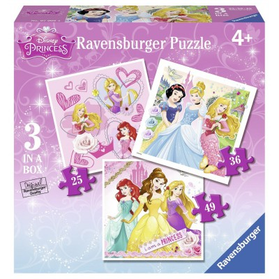 Ravensburger-07008 3 Puzzles - Disney Princess
