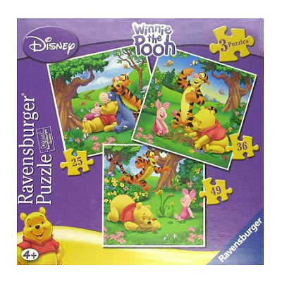 Ravensburger-07207 3 Puzzles - Winnie Pooh: Spaziergang im Wald