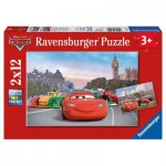 Ravensburger-07554 2 Puzzles - Cars in Paris und London