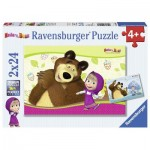 Ravensburger-09046 2 Puzzles - Masha and the Bear