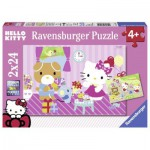 Ravensburger-09101 2 Puzzles - Hello Kitty